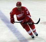 Tomas Tatar skates across the blue line during pre-game warmups.