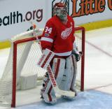 Petr Mrazek stands in his crease prior to the start of the game.