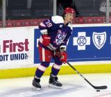 Tyler Bertuzzi looks to pass a puck during pre-game warmups before the Grand Rapids Griffins' Purple Game.