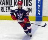 Matt Lorito skates at the blue line during pre-game warmups before the Grand Rapids Griffins' Purple Game.