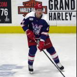 Conor Allen skates during pre-game warmups before the Grand Rapids Griffins' Purple Game.