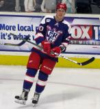 Dan Renouf skates during pre-game warmups before the Grand Rapids Griffins' Purple Game.