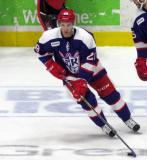 Matt Lorito skates with a puck during pre-game warmups before the Grand Rapids Griffins' Purple Game.