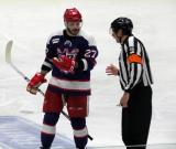 Martin Frk talks to a referee during a stop in play during the Grand Rapids Griffins' Purple Game.