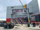 The exterior of Joe Louis Arena prior to the final Red Wings game played there.