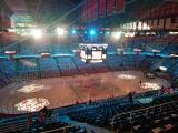 The darkened interior of Joe Louis Arena prior to the final Red Wings game played there.