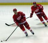 Anthony Mantha and Danny DeKeyser skate during pre-game warmups before the last game at Joe Louis Arena.