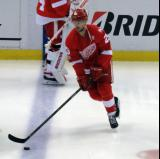 Mike Green skates across the blue line during pre-game warmups before the last game at Joe Louis Arena.