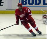Darren Helm skates in the neutral zone during pre-game warmups before the last game at Joe Louis Arena.