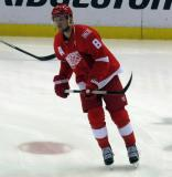 Justin Abdelkader skates in the neutral zone during pre-game warmups before the last game at Joe Louis Arena.