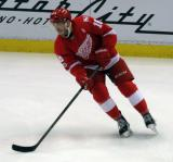 Robbie Russo skates during pre-game warmups before the last game at Joe Louis Arena.