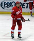 Danny DeKeyser stands near a faceoff dot during pre-game warmups before the last game at Joe Louis Arena.