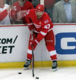Darren Helm stickhandles near the boards during pre-game warmups before the last game at Joe Louis Arena.