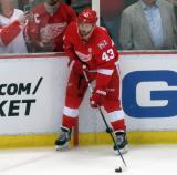 Darren Helm stands in the corner during pre-game warmups before the last game at Joe Louis Arena.