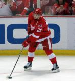 Matt Lorito plays with a puck during pre-game warmups before the last game at Joe Louis Arena.