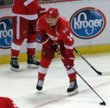 Gustav Nyquist laughs while standing to the side of the net during pre-game warmups before the last game at Joe Louis Arena.