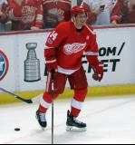 Gustav Nyquist skates out of the corner during pre-game warmups before the last game at Joe Louis Arena.