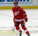 Dylan Larkin skates in the neutral zone during pre-game warmups before the last game at Joe Louis Arena.