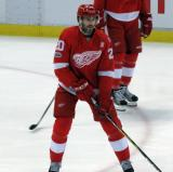 Drew Miller skates during pre-game warmups before the last game at Joe Louis Arena.