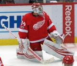 Petr Mrazek stretches during pre-game warmups before the last game at Joe Louis Arena.