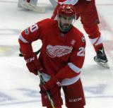 Drew Miller skates at center ice during pre-game warmups before the last game at Joe Louis Arena.