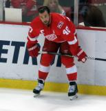Henrik Zetterberg crouches at the boards during pre-game warmups before the last game at Joe Louis Arena.