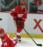 Tomas Tatar skates with a puck during pre-game warmups before the last game at Joe Louis Arena.