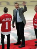 Steve Yzerman waves to the crowd before participating in a ceremonial puck drop before the last game at Joe Louis Arena.