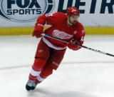 Xavier Ouellet watches his pass during the last game at Joe Louis Arena.