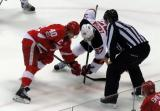 Henrik Zetterberg goes up against Pavel Zacha of the New Jersey Devils in the final faceoff in Joe Louis Arena history.
