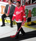 Rick Zombo is introduced during the ceremony following the final game at Joe Louis Arena.