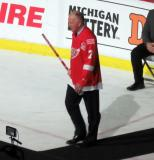 Red Berenson is introduced during the ceremony following the final game at Joe Louis Arena.