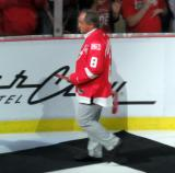 Dennis Polonich is introduced during the ceremony following the final game at Joe Louis Arena.
