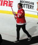 Daniel Cleary is introduced during the ceremony following the final game at Joe Louis Arena.