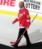 Jimmy Carson is introduced during the ceremony following the final game at Joe Louis Arena.