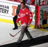 Brent Fedyk is introduced during the ceremony following the final game at Joe Louis Arena.