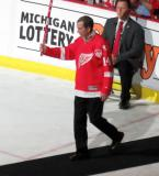 Nick Libett is introduced during the ceremony following the final game at Joe Louis Arena.