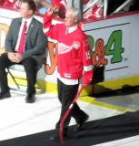 Paul Woods is introduced during the ceremony following the final game at Joe Louis Arena.