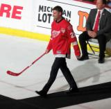 Boyd Devereaux is introduced during the ceremony following the final game at Joe Louis Arena.