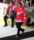Paul Ysebaert is introduced during the ceremony following the final game at Joe Louis Arena.
