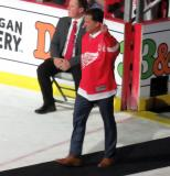 Dino Ciccarelli is introduced during the ceremony following the final game at Joe Louis Arena.