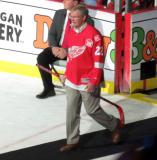 Dennis Hextall is introduced during the ceremony following the final game at Joe Louis Arena.