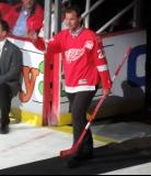 Mike Knuble is introduced during the ceremony following the final game at Joe Louis Arena.