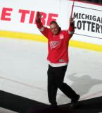 Darren McCarty is introduced during the ceremony following the final game at Joe Louis Arena.