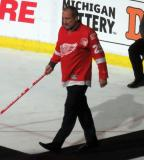 John Ogrodnick is introduced during the ceremony following the final game at Joe Louis Arena.