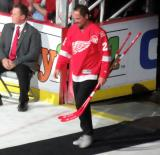Joe Kocur is introduced during the ceremony following the final game at Joe Louis Arena.