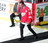 Fredrik Olausson is introduced during the ceremony following the final game at Joe Louis Arena.