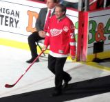 Steve Duchesne is introduced during the ceremony following the final game at Joe Louis Arena.
