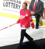 Mike Vernon is introduced during the ceremony following the final game at Joe Louis Arena.