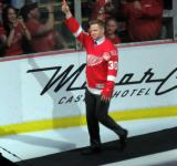 Chris Osgood is introduced during the ceremony following the final game at Joe Louis Arena.